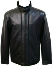Black Lamb Leather Removable Faux Fur-Lined Collar Jacket