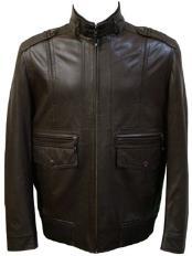 Black Front Pocket Lamb Leather Zip Jacket