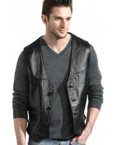 Mens Black Lambskin Leather Classic Dress Vest
