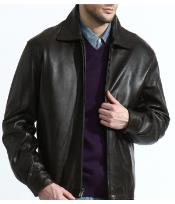 Mens Lambskin James Dean Classic Front-Zip Big and Tall Bomber Jacket In