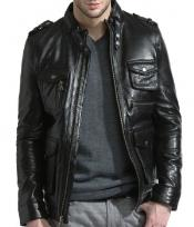 Black Lambskin Leather Military