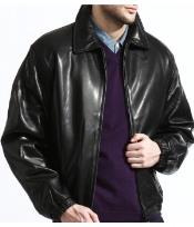 Mens Classic Black Lambskin Leather Big and Tall Bomber Jacket A Classic