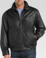 Mens Full-Zip Closure Black Lambskin Leather Classic Fit Big and Tall Bomber