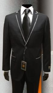 Mens tuxedo suits Black White trimmed Suit Framed Lapel