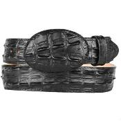 Gator ~ World Best Alligator ~ Gator Skin Print (Imitation) Western Style Leather Belt Black