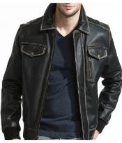 Mens Slim Distressed Leather Bomber Jacket Black
