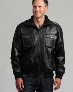 Mens Pig Napa Leather Military Bomber Jacket Black