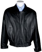 Mens Zip-Out Liner Nappa Leather Bomber Jacket Black