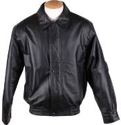 Mens Zip-Out Liner Classic Leather Bomber Jacket Black