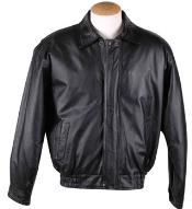 Removable Liner Basic Leather Bomber Jacket Black