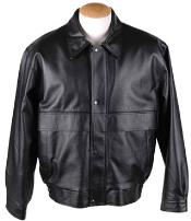 Mens Removable Liner & Button Leather Bomber Jacket Black
