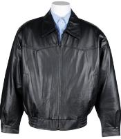 Mens Western Leather Bomber Jacket Black