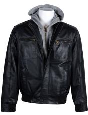 Mens Leather Bomber with Removable Hood Black
