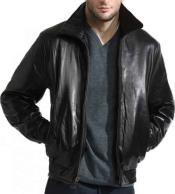 Mens Classic Black Front Zipper Closure Lambskin Leather Bomber Jacket