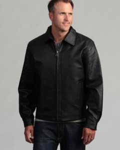 Mens Pig Napa Leather Big and Tall Bomber Jacket Black