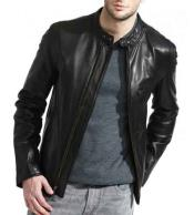 Full Sleeve Zipper Closure Black Lambskin Leather Cafe Racer Jacket