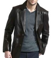 2 Button Classic Black Lambskin Leather Blazer Sports Jacket