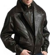 Black Classic Full Sleeve Classic Double Collared Lambskin Leather Bomber Jacket
