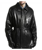 Classic Lambsking Leather Jacket 3/4 with Belt