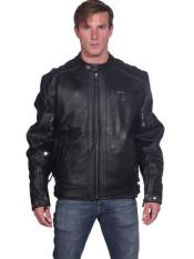 Classic Front Zipper Closure Black Leather Basic Jacket