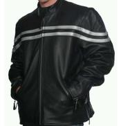 Classic Black Snap Collar Front Zipper Closure Leather Jacket