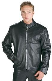 Mens Black Leather Jacket Mens High Grade Motorcycle Racer Leather Big and