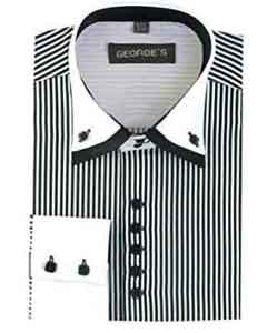 Black Long Sleeve Dress Shirt White Collar Two Toned Contrast Two Tone Striped White Collared Contrast