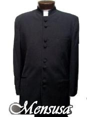 JGF132 Mandarin Collar BANNED Collar Black Suit 8 BUTTON EXTRA FINE
