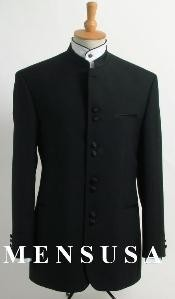 Quality Black Mandarin Collar Tuxedo Suit Light Weight Soft Fabric