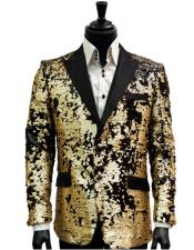 Black Matte Gold Sequin Pattern Blazer