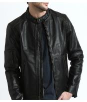 Classic Distressed Moto Jacket In 100% Genuine Cowhide Leather