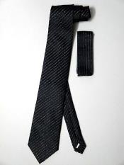Tie Set Black W/ Metallic Silver