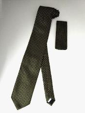 Tie Set Black W/ Yellow Mini Square Dots