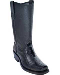 Los Altos Ostrich Leg Biker Boots With Leather Sole Black