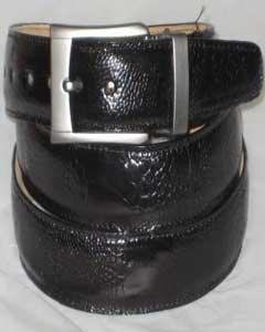 Genuine Authentic Black Ostrich Leg Belt
