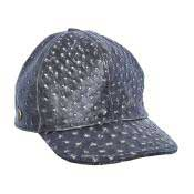 Rustic Black Genuine Ostrich Cap