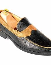 Mens Ostrich Style Slip-On Loafers Cuban Heel Black Fashionable Shoes