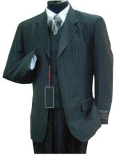 Luxurious #MU3B Black & Smoth Conservative Pinstripe 3 Pieces Vested Business Suits