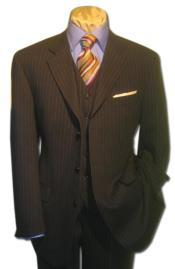 3 Piece Black Pinstripe Vested Online Sale Clearance Wool Feel Extra