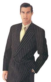 Brand New Black Pinstripe Double Breasted Suits Super 120s Acrylic/Rayon Developed By