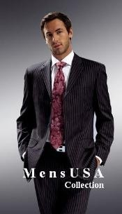 Mens Jet Black & Chalk Bold White Pinstripe Cheap Priced Business Suits