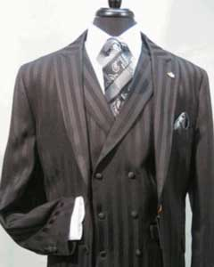 Mens Peaked Lapel Double Breasted Three Button Black Suit