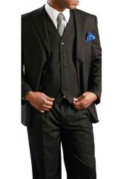 Mens Black Big & Tall 3 Piece Executive Pinstripe Suit