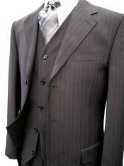 Black Pinstripe Super 120s Wool Feel Extra Fine Poly~Rayon Vested 3 ~
