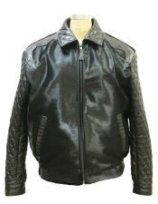 Mens Pony Leather Jacket with Aligator Trimming Zip closure Black