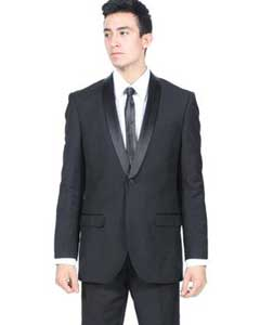 Mens All Black Shawl Collar Slim Fit 2 Piece Suit Fashion Tuxedo