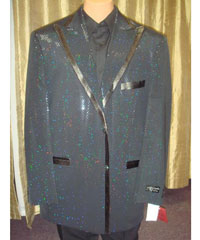 Mens Sequin Flashy Shiny Jacket/Blazer /Fashion Tuxedo For Men/ Suit/Sportcoat Black