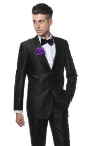 Black Shiny Two Piece Slim Fit Suits Oxford