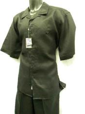 2 Piece Big Size Linen Short Sleeve Casual Outfit Black