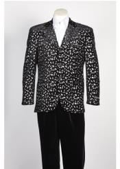 Paisley Floral Blazer Sport Coat Jacket Fashion Suit Black Silver Blazer